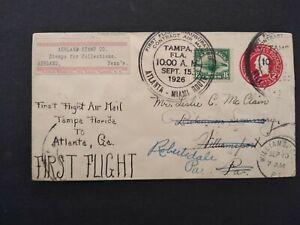 Florida: Tamps 1926 #C4 First Flight Cover to Atlanta, Georgia