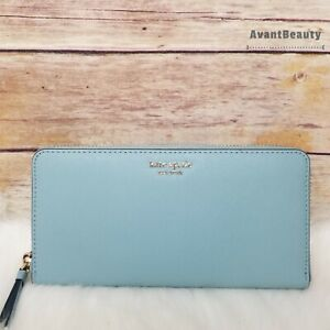 NWT Kate Spade New York Sylvia Slim Continental Leather Wallet Seaside Blue New
