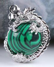 Anhänger Drache Fabelwesen Kugel Malachit grün gestreift versilbert.