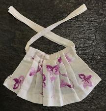 Barbie Handmade Apron Embroidered Pleated Cream Purple Flowers Kitchen Ooak Vtg