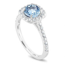 Platinum Aquamarine Engagement Ring, With Diamonds Bridal Ring 1.43 Carat