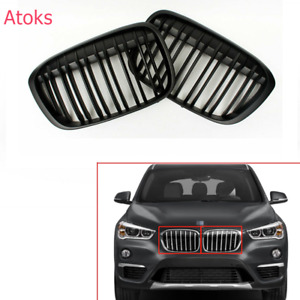 For BMW X1 F48 F49 2016-2020 Black Front Bumper Grille Grill Double Slat
