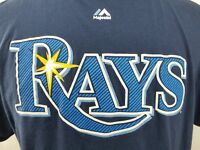 Tampa Bay Rays Longoria # 3 Blue Majestic T Shirt 100 % Cotton Men's Size: XL