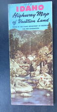 1950 Idaho  official highway road  map  oil  gas Woody