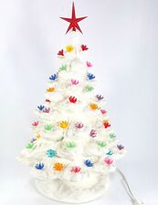 "Vintage White Ceramic Christmas Tree Lamp 16"" w/ base Multicolor Lights Plug In"