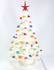 "VTG White Ceramic Christmas Tree Lamp 16"" w/ base Multicolor Lights Wall Plug"