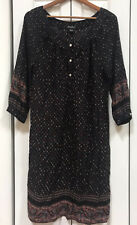 Lucky Brand Womens Black Shift Dress Medium Floral Boho 3/4 Sleeves Peasant