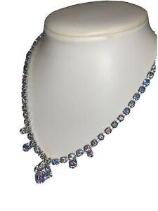 Vintage Rhinestone Rainbow Iris Givre Prong Set Necklace
