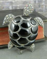 Sterling Silver, Onyx & Marcasite Turtle Pin / Pendant