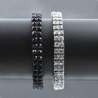 "Men & Lady 2 Row Black Gold Silver Crystal Iced Out Hip Hop Bling Bracelet 8"""