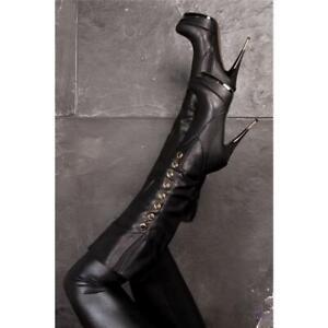 SEXY PLATEAU-STIEFEL DAMEN-STIEFEL HIGH HEEL SCHWARZ #39038-11