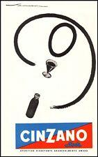 PUBBLICITA' 1953 CINZANO SODA APERITIVO AMARO FEDERICO SENECA SIMBOLISMO GRAFICA