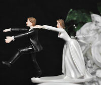 Wedding Cake Toppers Funny Figurine Bride and Groom Humor Marriage Favor chase