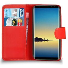 for Samsung Galaxy Note 8 - Leather Magnetic Wallet Flip Phone Case Cover Red