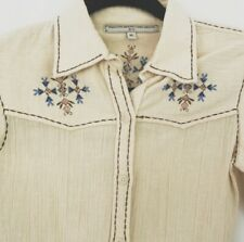 What Goes Around Comes Around White Button Down Top - Western Style - Size XS