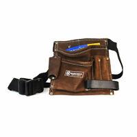 5 Pocket Leather Builders Suede Apron Work Bag Belt Tool Pouch Holder Pocket