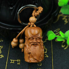 Wood Carving 3D Chinese God of Longevity Statue Sculpture Pendant Key Chain Ring