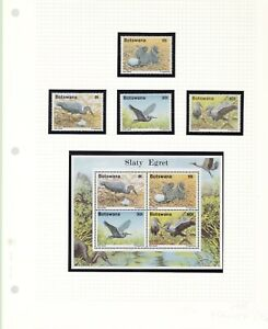 BOTSWANA  BIRDS 1989 MNH SCOTT 456 - 459 PLUS 459A SS