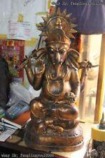 Old Tibet Buddhism Fane Bronze Wealth Elephant Jambhala Mammon Buddha Statue