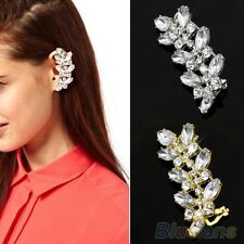 New Hot Gold Plated LEAF Crystal Diamonte Punk Ear Cuff Earring Clips LEFT EAR