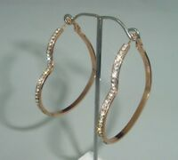 large s.steel rose gold colored heart earrings with cubic zirconia crystals 1741