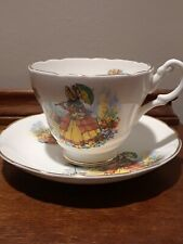 Lovely Vintage Regency Bone China England Cup Saucer Woman Garden Scene
