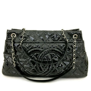 CHANEL Quilted CC Logo Enamel Patent Leather Silver Chain Tote hand Bag /91308