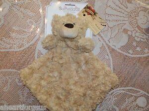 Sumersault SECURITY BLANKET Bear Curly Faux Fur Swirls Golden Tan Snuggle Buddy