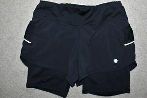 Womens Sz S Small Athleta Ready Set 2in1 Lined Reflective Running Shorts Pockets