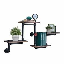 "Industrial Floating Pipe Wall Shelves Rustic Wood Shelving 4 (4-tier-45.6""L)"
