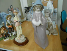 Lladro/Nao Beautiful Girl In Pink Holding A Bird Mint Condition
