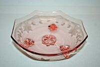 Vintage Pink Depression Glass Footed Octagon Candy Dish w/ Etched Leaf Pattern