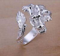 Silver DRAGON RING Thumb Wrap Ring plated open cuff ADJUSTABLE fire 925