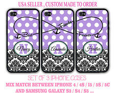 PURPLE POLKA DOTS DAMASK BFF Best Friends 3 CUSTOMIZE Cases For iPhone 6S 5S SE