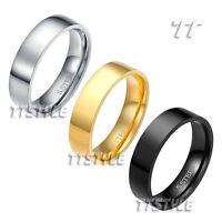 TT 6mm Plain Flat Mirror Polished Stainless Steel Wedding Band Ring R113 Sz 6-15
