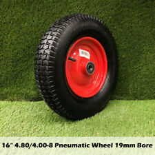 "16"" 4.80/4.00-8 BORE 19mm Pneumatic Wheels Trolley Cart Wheelbarrow Tyres Wheel"