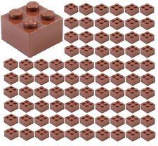 ☀️100x NEW LEGO 2x2 REDDISH BROWN Bricks (ID 3003) BULK Parts City town Starwars