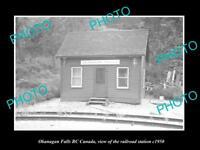OLD LARGE HISTORIC PHOTO OF OKANAGAN FALLS BC CANADA, THE RAILWAY STATION c1950