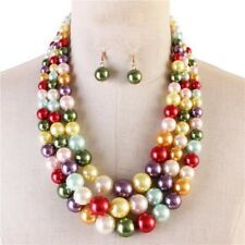 Three Layers Multi color Faux Pearl Necklace Set
