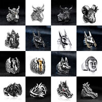 Titanium Mens Jewelry Stainless Steel Gothic Men's Motorcycle Biker Punk Rings