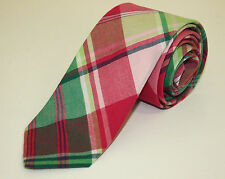 Brooks Brothers New Skinny Extra Long Tie Linen Silk Pink Plaid Summer Style