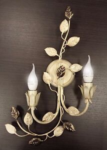 Lamp Wall Applique 2 Lights Flemish Wrought Iron Classic With Leaves