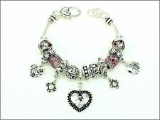 Silver Tone Charm Bracelet With Pink Rhinestone Beads and Mom Theme Charms