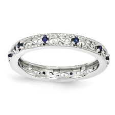 Sterling Silver Created Sapphire Ring Size 7 #2038