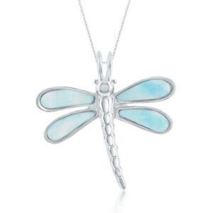 Sterling Silver Larimar Dragonfly Pendant
