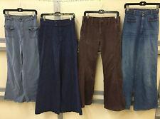 Vintage Denim Lot Of 4 Bellbottom Jeans Wide Leg Flared Hippy 1970s Adult Unisex