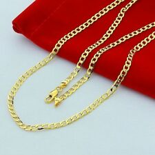 24K Gold Filled Heavy Stainless Steel Curb Cuban Link Chain Men Necklace 7mm