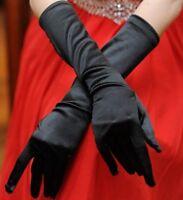 Gants burlesque longs venitien 35 cm satin TU pour soirée mariage ou cérémonie.
