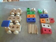22 Pieces - Wooden - 3 Car Train Set with Blocks - Natural Wood and Painted