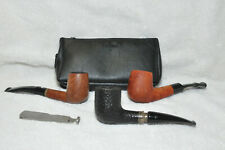 Vintage Tobacco Smoking Pipes (3) plus Pipe Tool and Pipe Case